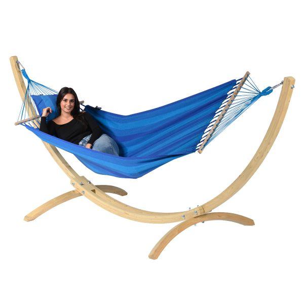 Wood & Relax Blue Single Hængekøje med Stativ
