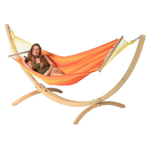 Wood & Relax Orange Single Hængekøje med Stativ