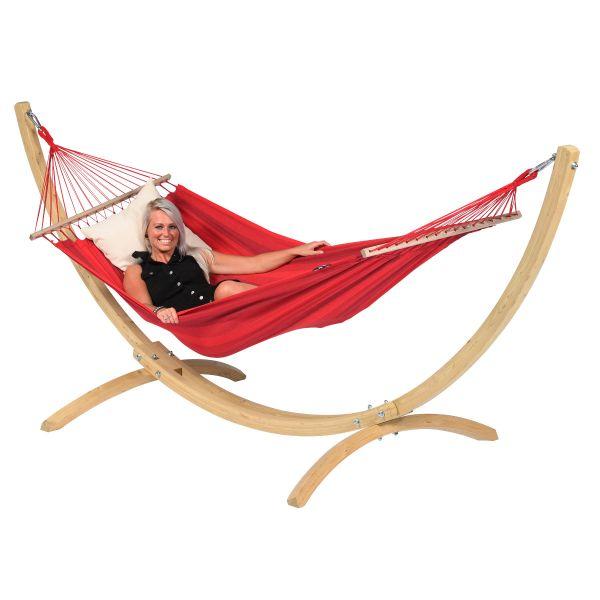 Wood & Relax Red Single Hængekøje med Stativ