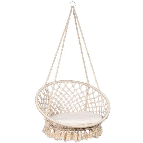 Macramé White Enkelt Hængekøjestole