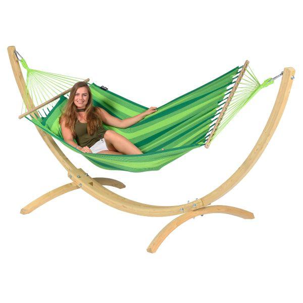 Wood & Relax Green Single Hængekøje med Stativ