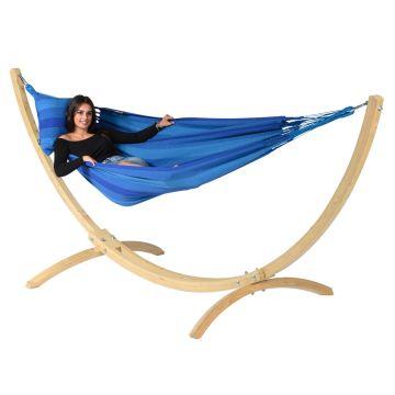 Wood & Dream Blue Single Hængekøje med Stativ