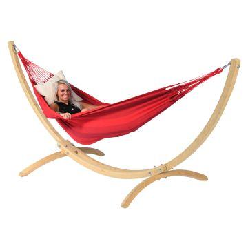 Wood & Dream Red Single Hængekøje med Stativ