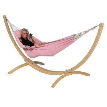 Wood & Natural Pink Single Hængekøje med Stativ