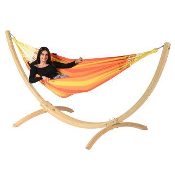 Wood & Dream Orange Single Hængekøje med Stativ