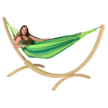 Wood & Dream Green Single Hængekøje med Stativ