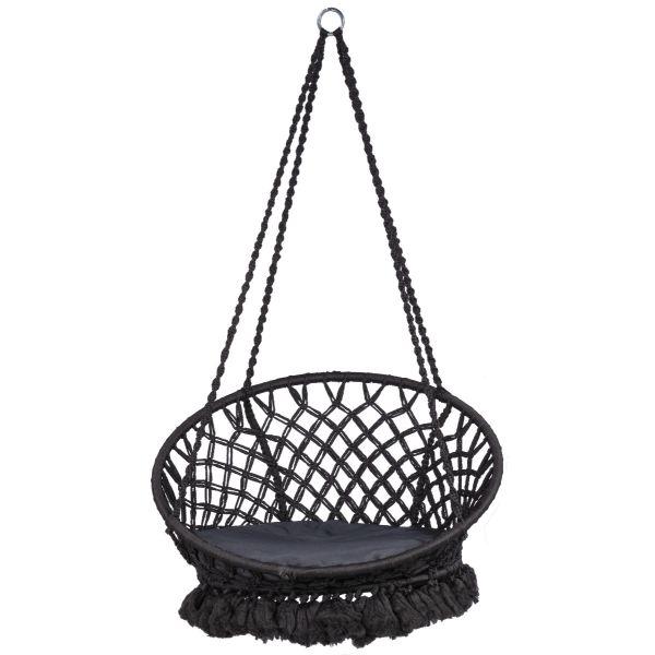 'Macramé' Black Enkelt Hængekøjestole